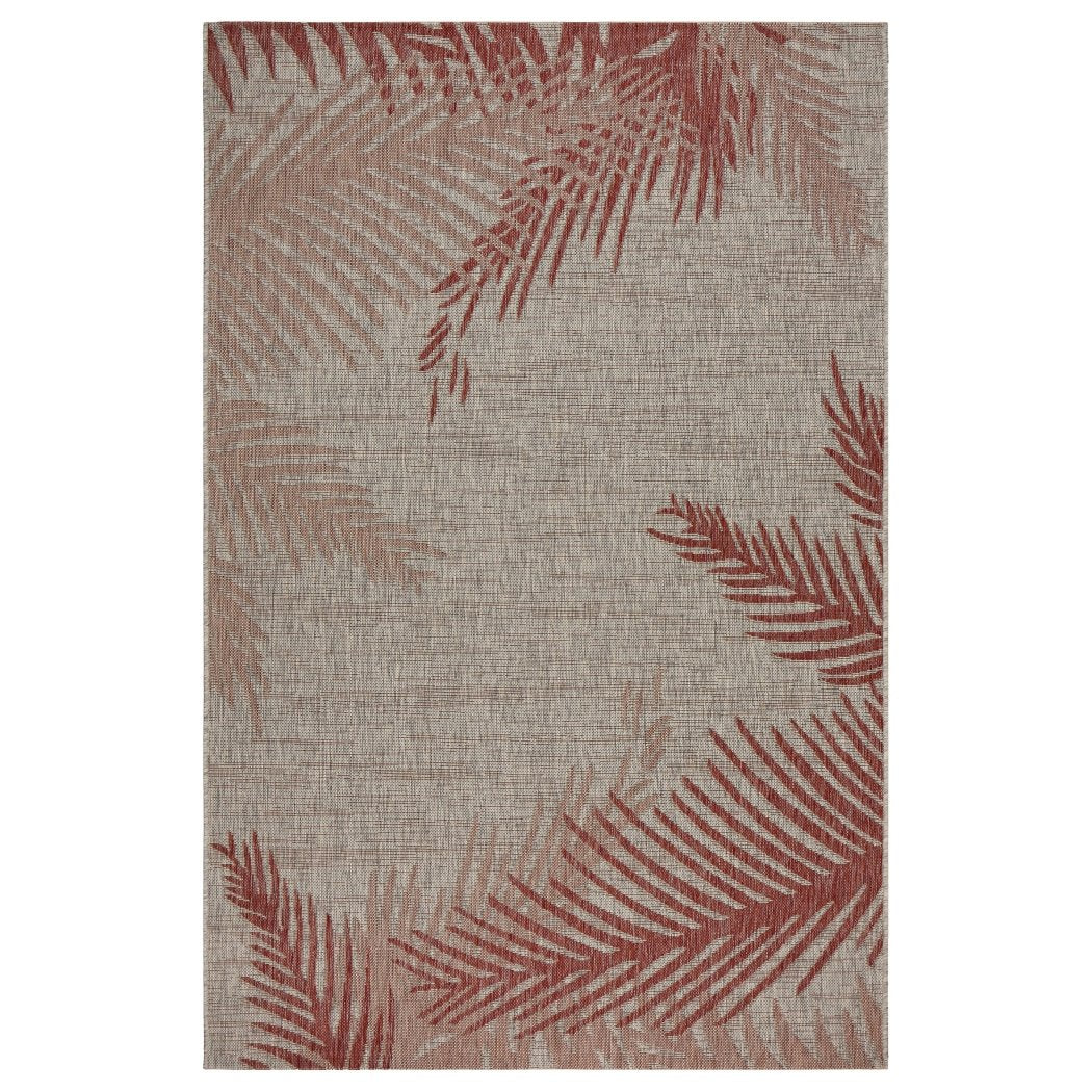 5x7 Beige Red Beach Palm Trees Area Rug Rectangle Indoor/Outdoor Tan Nautical Ocean Carpet Patio Coastal Floor Mat Sea Cottage Lake House Marine - Diamond Home USA