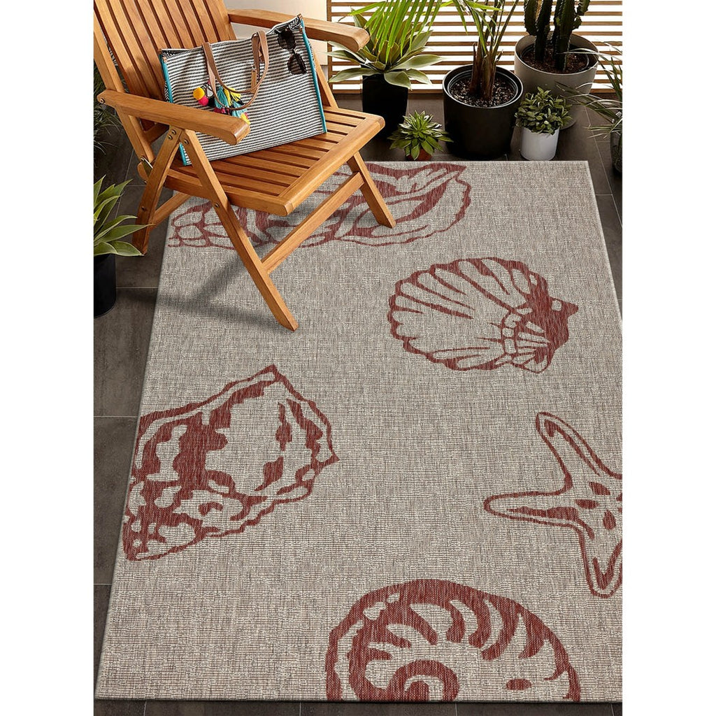5x7 Red Grey Ocean Sea Shells Area Rug Rectangle Indoor/Outdoor Navy Beach Seashells Carpet Patio Nautical Coastal Cottage Lake House Water - Diamond Home USA