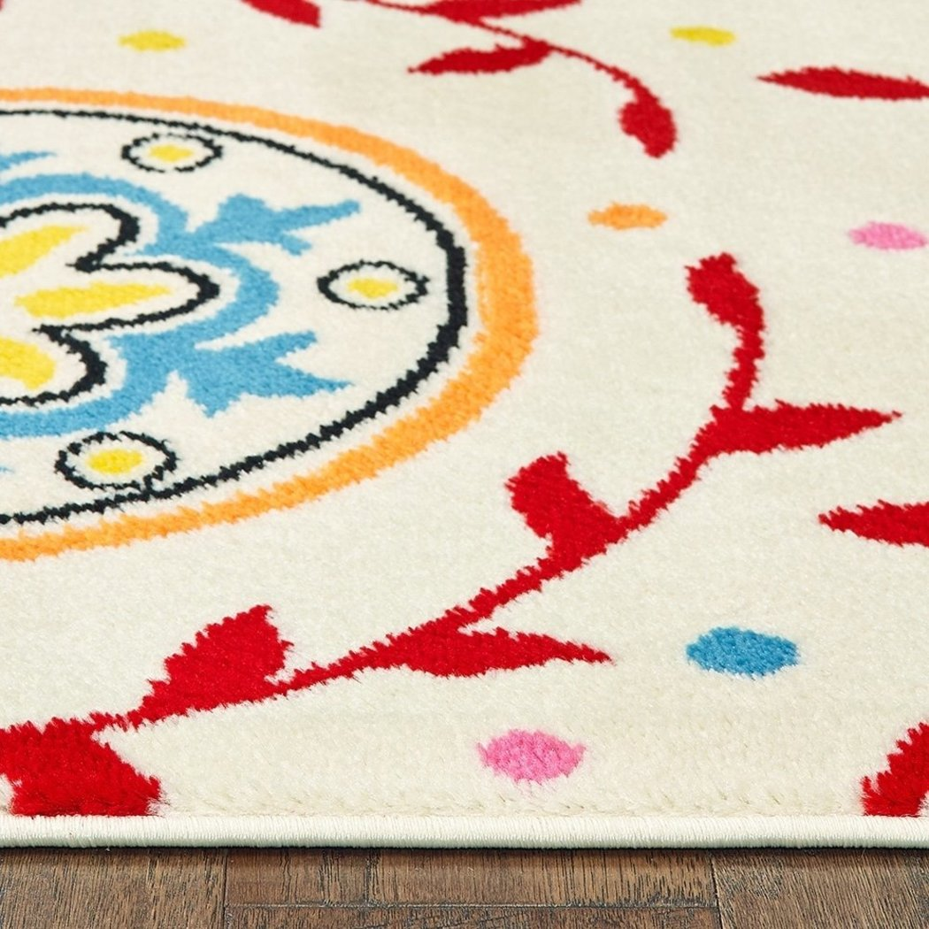 5'x7'ft Off White Cream Red Pink Blue Orange Graphic Geometric Patterned Kids Area Rug Indoor Flower Circle Living Room Bedroom Mat Rectangle Carpet - Diamond Home USA