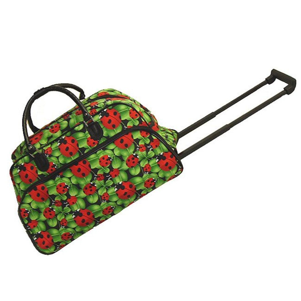 Green Rolling Duffle Bag Inline Skate Wheels Signature Pattern Polyester - Diamond Home USA