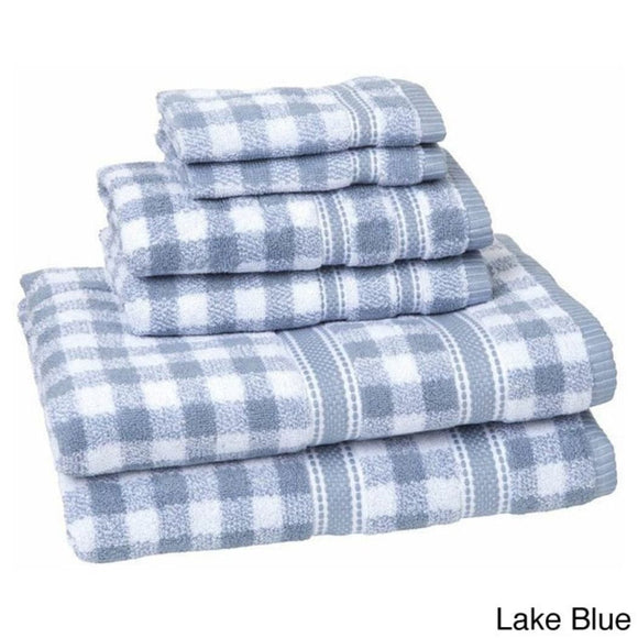 Plaid Towel Set Cabin Themed Bath Towels Checkered Checked Tartan Ljack Jacquard Pattern Rugby Stripes Horizontal Vertical Striped