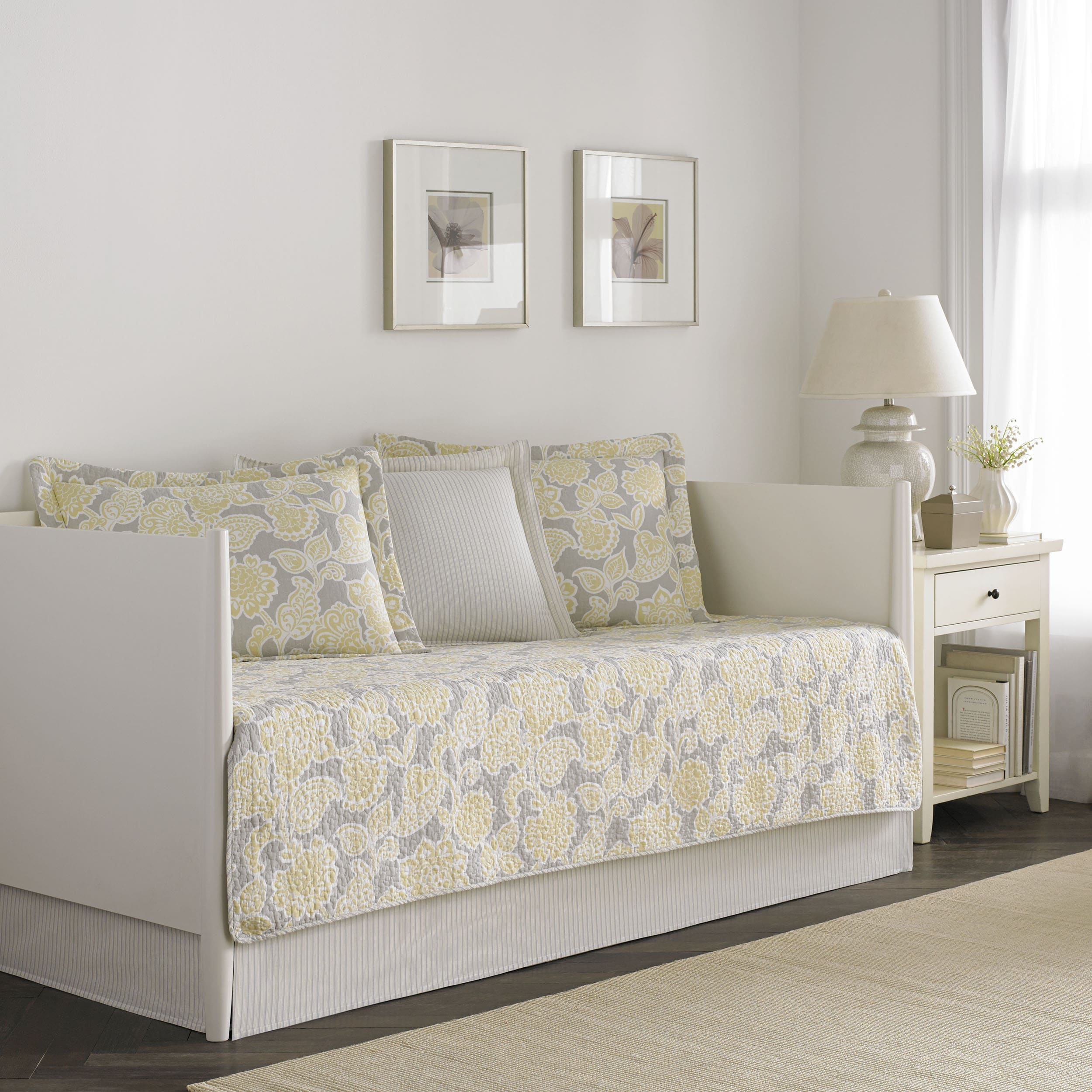 Joy 5-piece Quilted Daybed Cover Set Yellow Floral Designer Victorian Cotton - Diamond Home USA