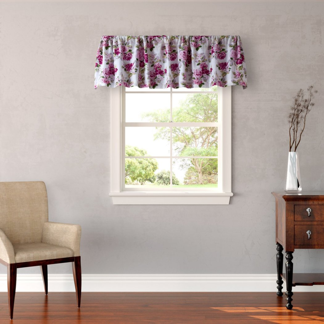 Laura Ashley Lidia Pink Floral Window Valance - Diamond Home USA