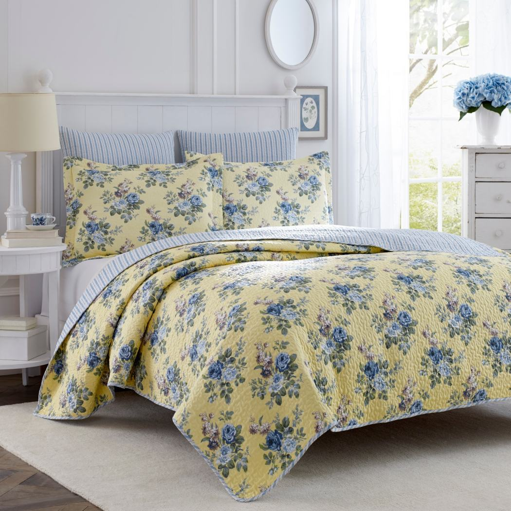 Laura Ashley Quilt Linley Yellow King - Diamond Home USA