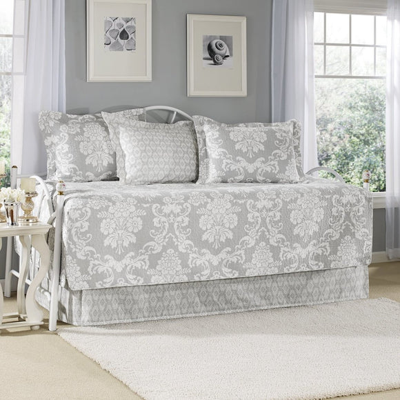 Laura Ashley 5 Piece Venetia Daybed Cover Set Gray - Diamond Home USA