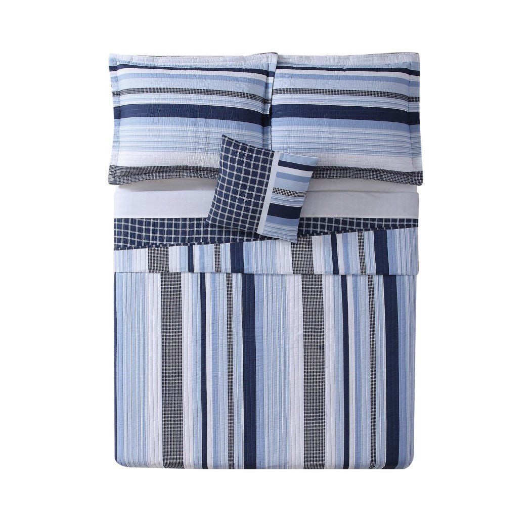 Stripes Pattern Quilt Bonus Pillow Set Elegant Windowpane Plaid StripeInspired Design Casual Check Bedding Bright Classic Unisex