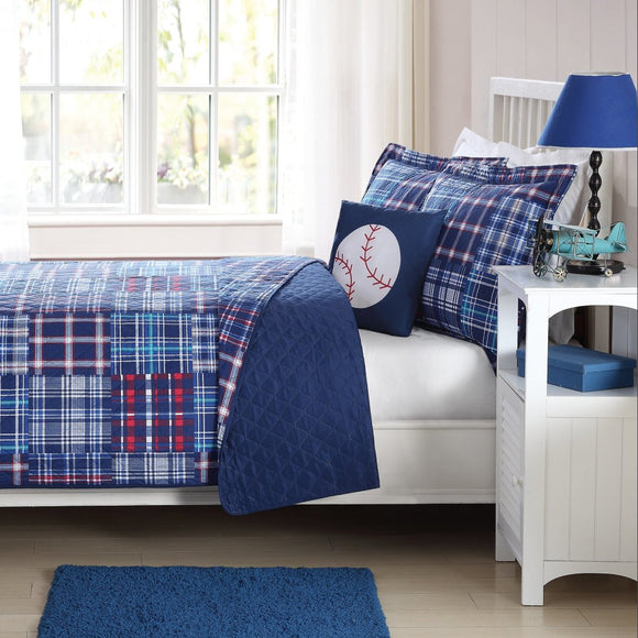 Boys Madras Plaid Quilt Set Stylish Glen Checkered Patchwork Microfiber Bedding Kids Baseball Sports Themed Check Tartan Pattern Red