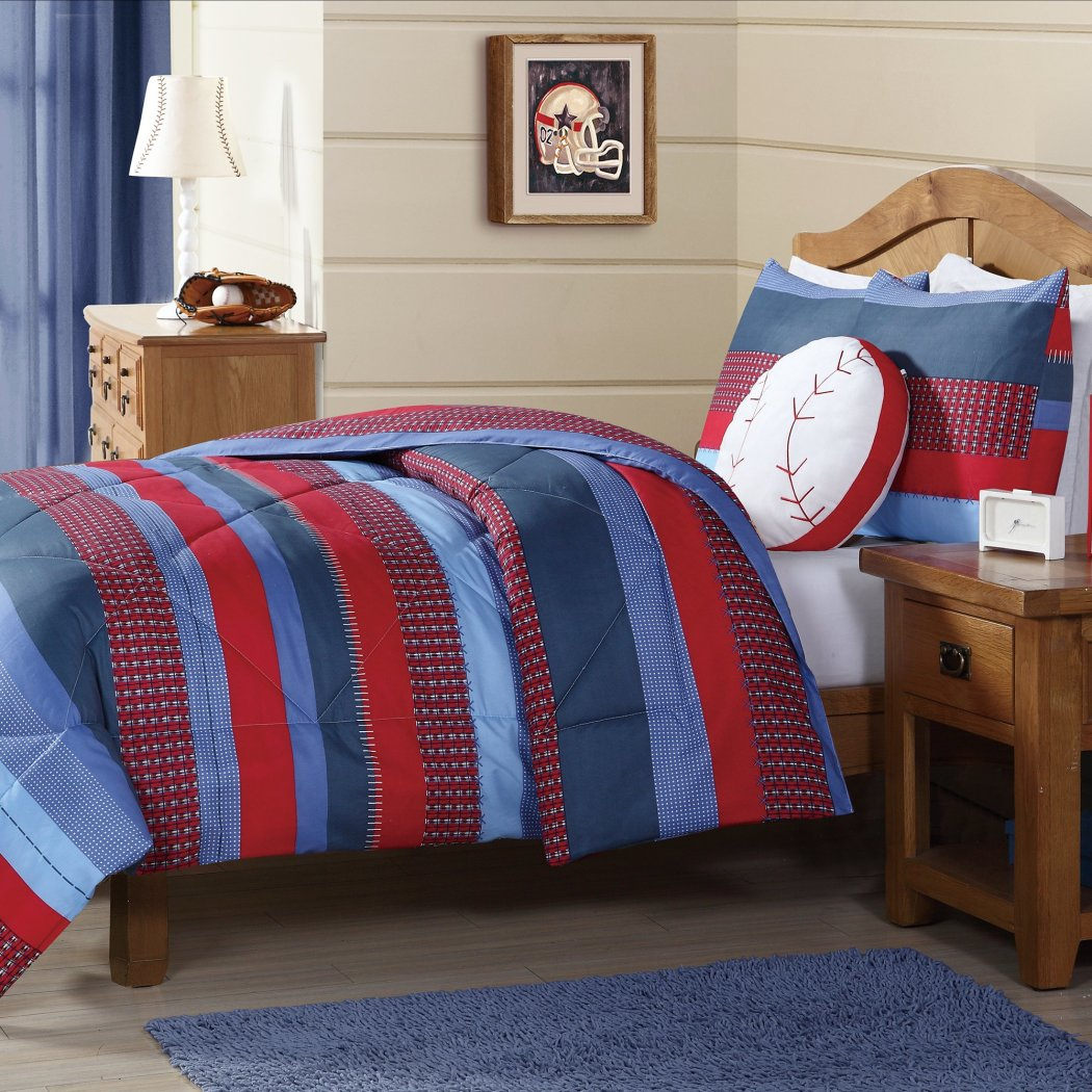 Kids Boys Stripes Comforter Set Horizontal Rugby Striped Bedding Sports Themed Team Nautical Teen Ful