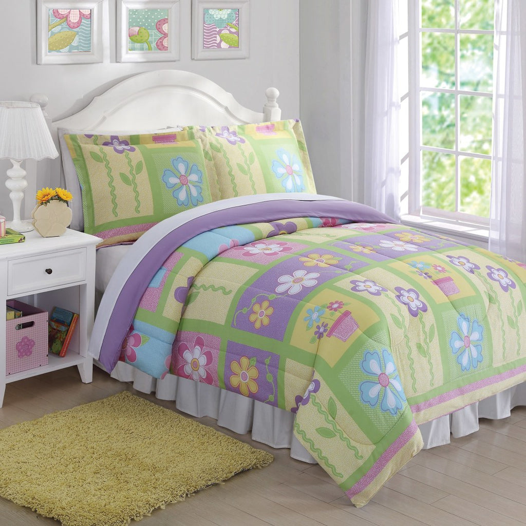 Girls Floral Comforter Set Gorgeous Flowerpot Square Pattern Adorable Cheerful Flowers Kids/Teens