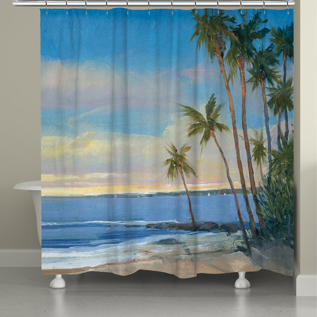 A Day in the Tropics Shower Curtain Blue Nature Tropical Polyester - Diamond Home USA