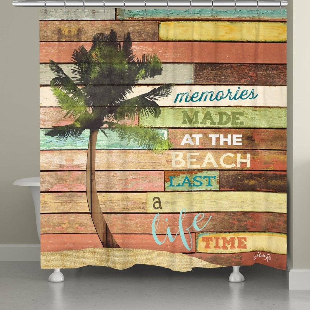 Rustic Beach Coastal Vacation Memories Quotes & Sayings Surf Shower Curtain Polyester Palm Tree Colored Wooden Background - Diamond Home USA