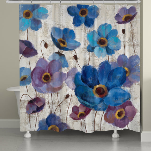 Blue Anemones Shower Curtain (71-inch x 74-inch) Off-white Nautical Coastal Polyester - Diamond Home USA
