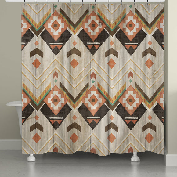 Natural Aztec Shower Curtain Brown Novelty Polyester - Diamond Home USA