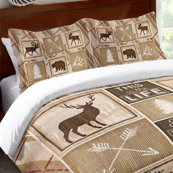 Ivory Tan Brown Cabin Themed Pillow Moose Brown Bear Pattern Pine Trees Mountains Compass Arrows Nature Wildlife Lodge Cotton - Diamond Home USA