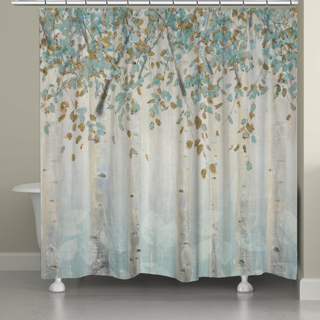 Nature Floral Themed Shower Curtain Colorful Pretty Forest Birch Trees Indie Inspired Hippy Spirit Gorgeous Digital Graphic Bathtub Curtain Blue Gold - Diamond Home USA