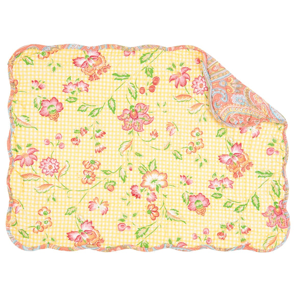 Leah Quilted Rectangular Placemat Set of 6 Yellow Print Traditional Rectangle Cotton Handmade - Diamond Home USA