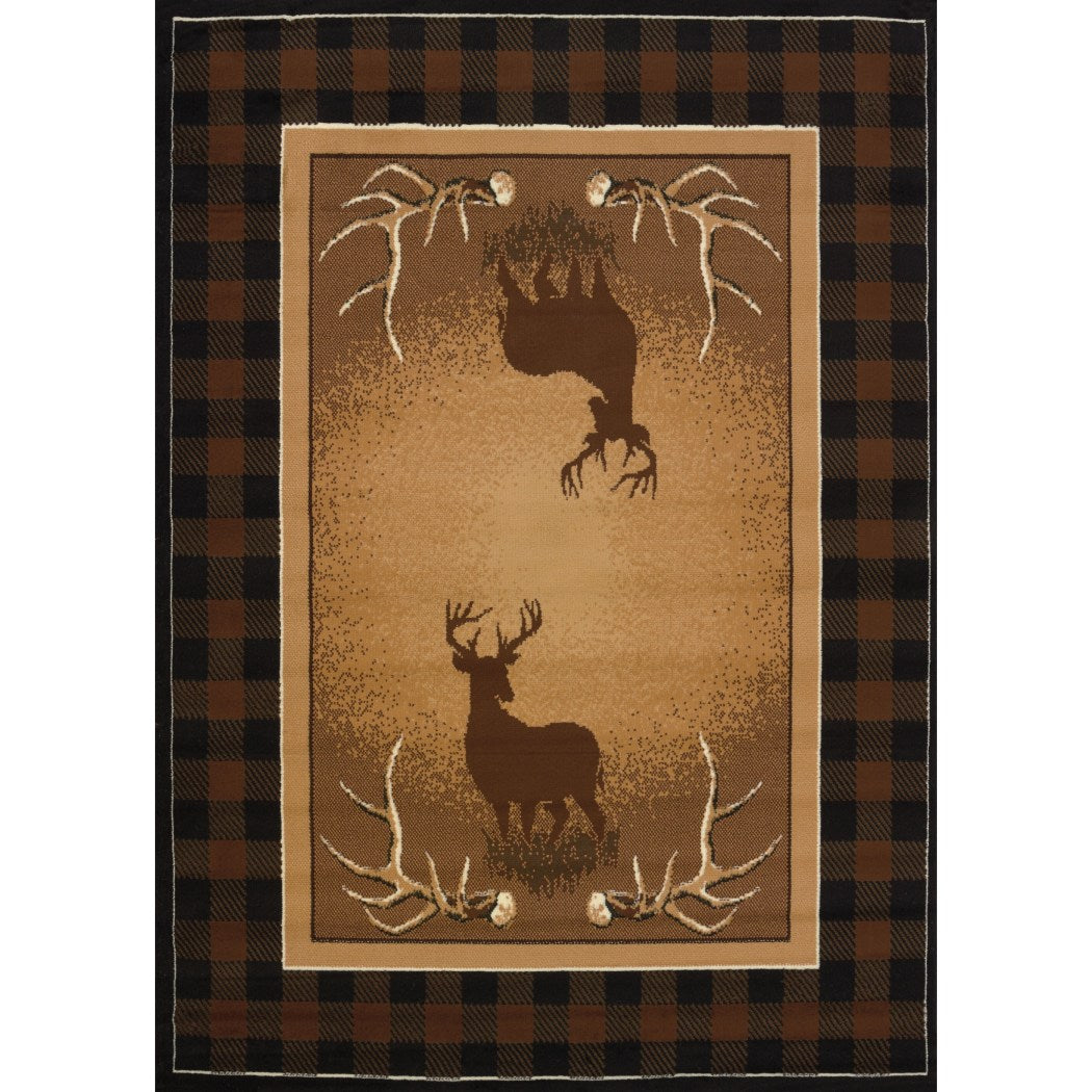 "3'3""x4'11"" Brown Deer Wildlife Printed Area Rug Indoor Outdoor Animal Pattern Living Room Rectangle Carpet Southwest Cabin Themed Soft Synthetic - Diamond Home USA"