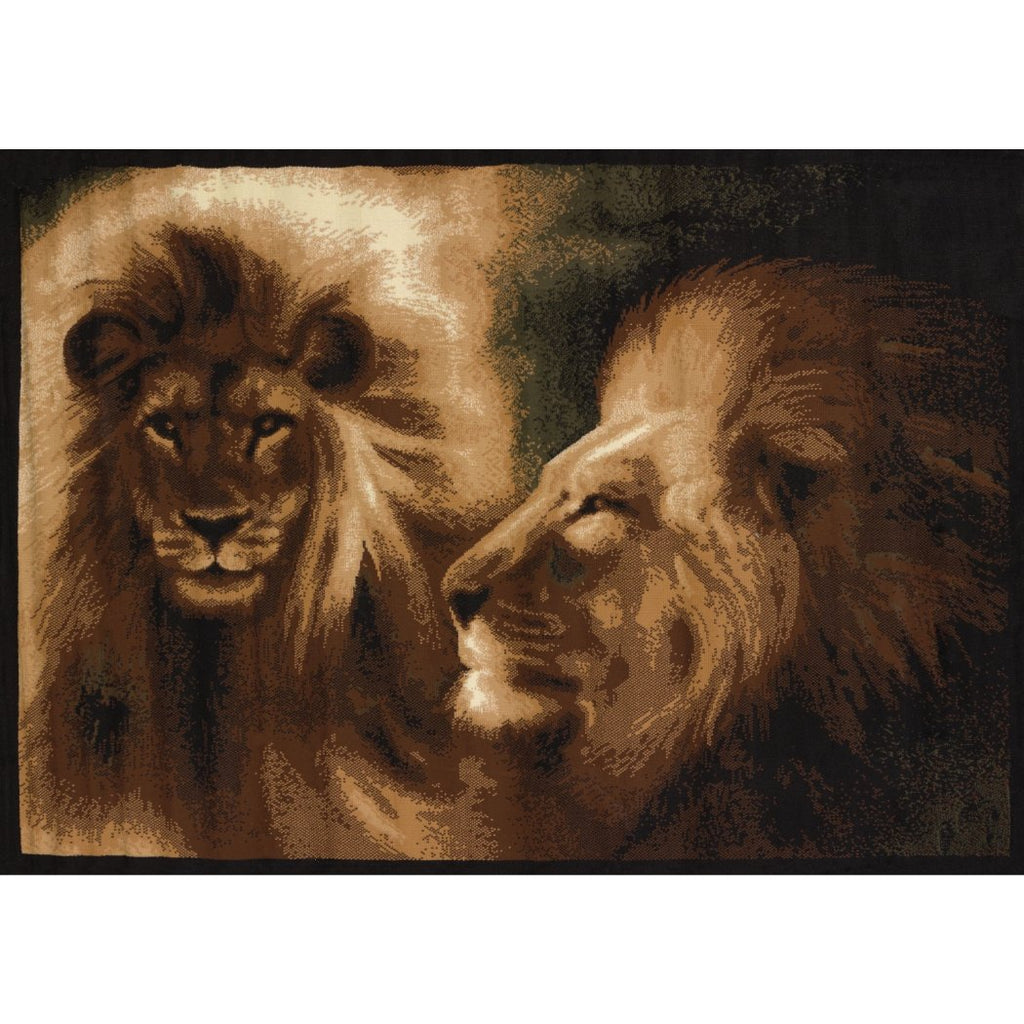 "3'3""x4'11"" Black Brown Gold Lions Wildlife Printed Area Rug Indoor Outdoor Animal Pattern Living Room Rectangle Carpet Southwest Cabin Themed - Diamond Home USA"