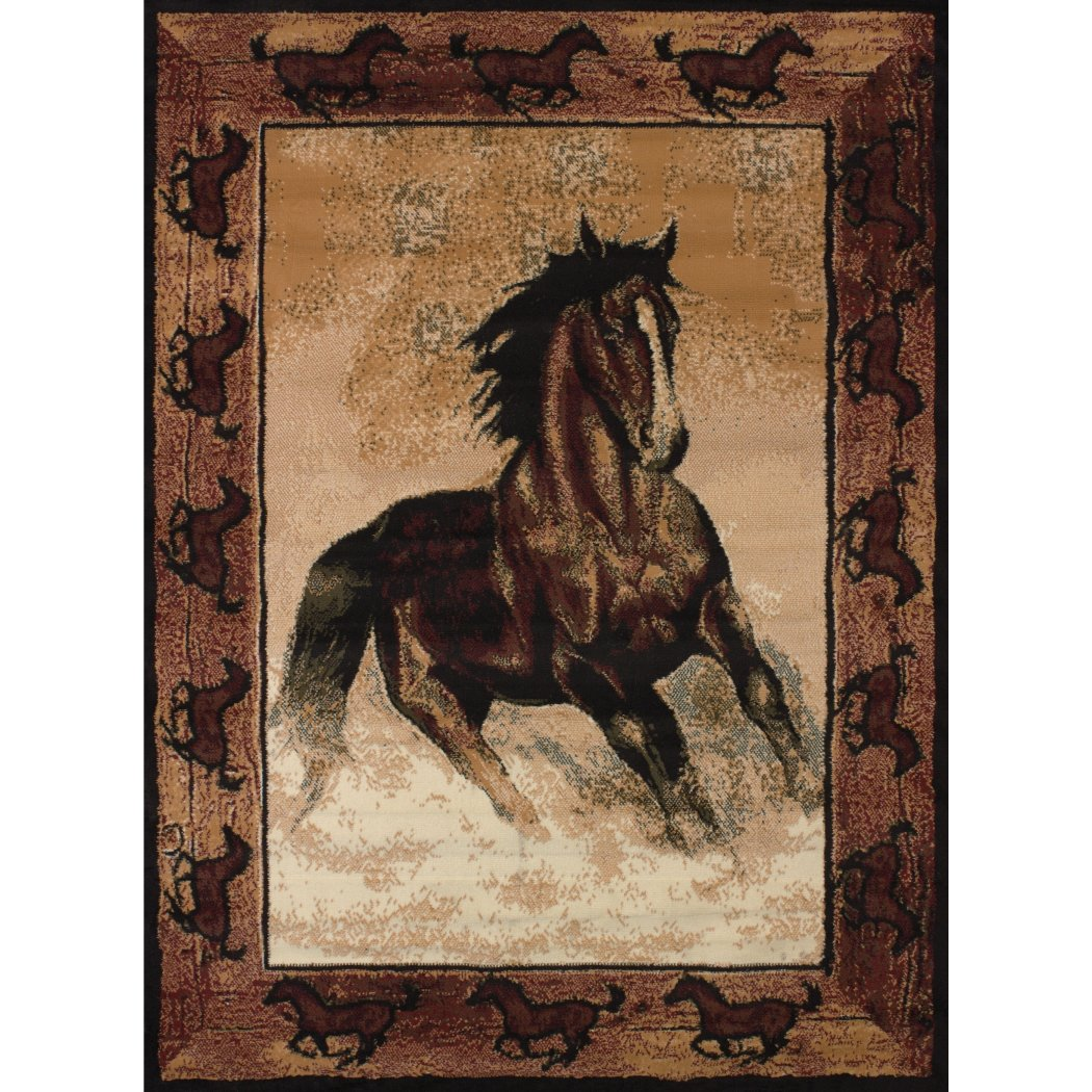 3'3ft X 4'11ft Brown Horse Themed Area Rug Rectangle Stallion Carpet Running Horses Border Animal Galloping Majestic Stain Resistant Motif Indoor - Diamond Home USA