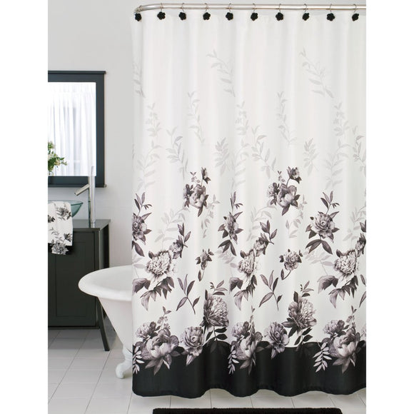 Grey Black White Floral Pattern Shower Curtain Floral Graphic Themed Modern Elegant Design Botanical Pattern Indie Hippie Cotton Flower Printed - Diamond Home USA