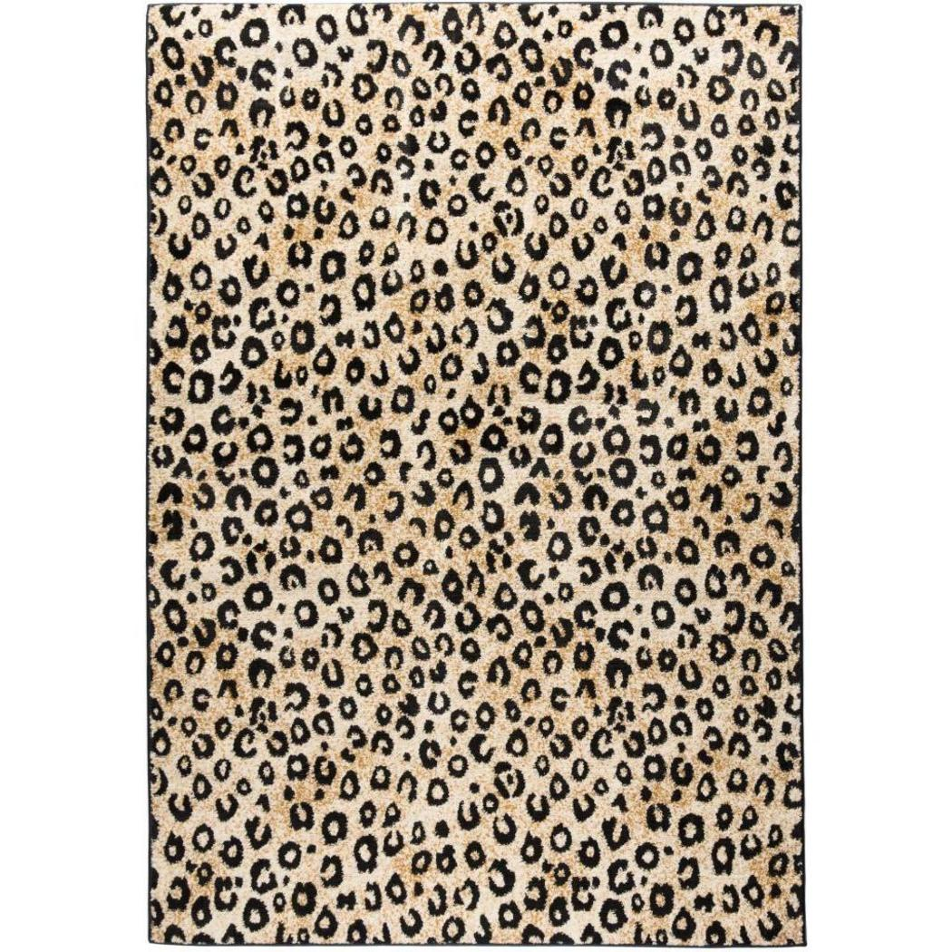 "3'3""x5'3"" Gold Beige Black Leopard Dots Printed Area Rug Indoor Graphical Pattern Living Room Rectangle Carpet Africa Themed Soft Synthetic Wild - Diamond Home USA"