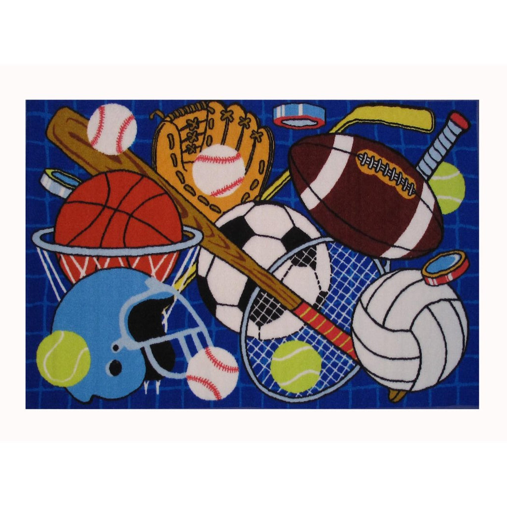 "1'6""x2'4"" Kids Navy Blue Sports Gadgets Balls Printed Area Rug Indoor Graphical Pattern Playroom Rectangle Carpet Graphic Art Themed Vibrant Color - Diamond Home USA"