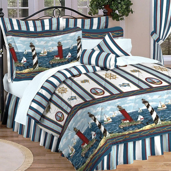 Lighthouses Sailboats Comforter Set Nautical Novelty Horizontal Stripes Pattern Bright Lines Pattern Cabana Striped Sports