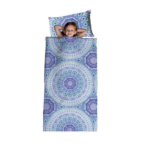 Kids Girls Purple Blue Hippy Medallion Themed Sleeping Bag Hippie Mandalla Pattern Symetry Motif Sleep Sack Blanket Intricate Soft Pastel Color - Diamond Home USA