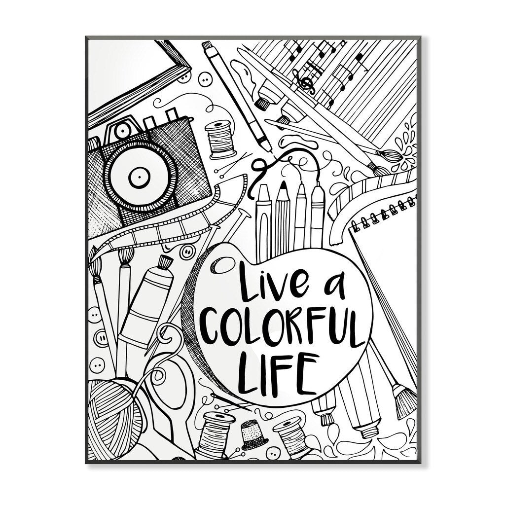 Live A Colorful Life Diy Coloring Wall Plaque Modern Contemporary - Diamond Home USA