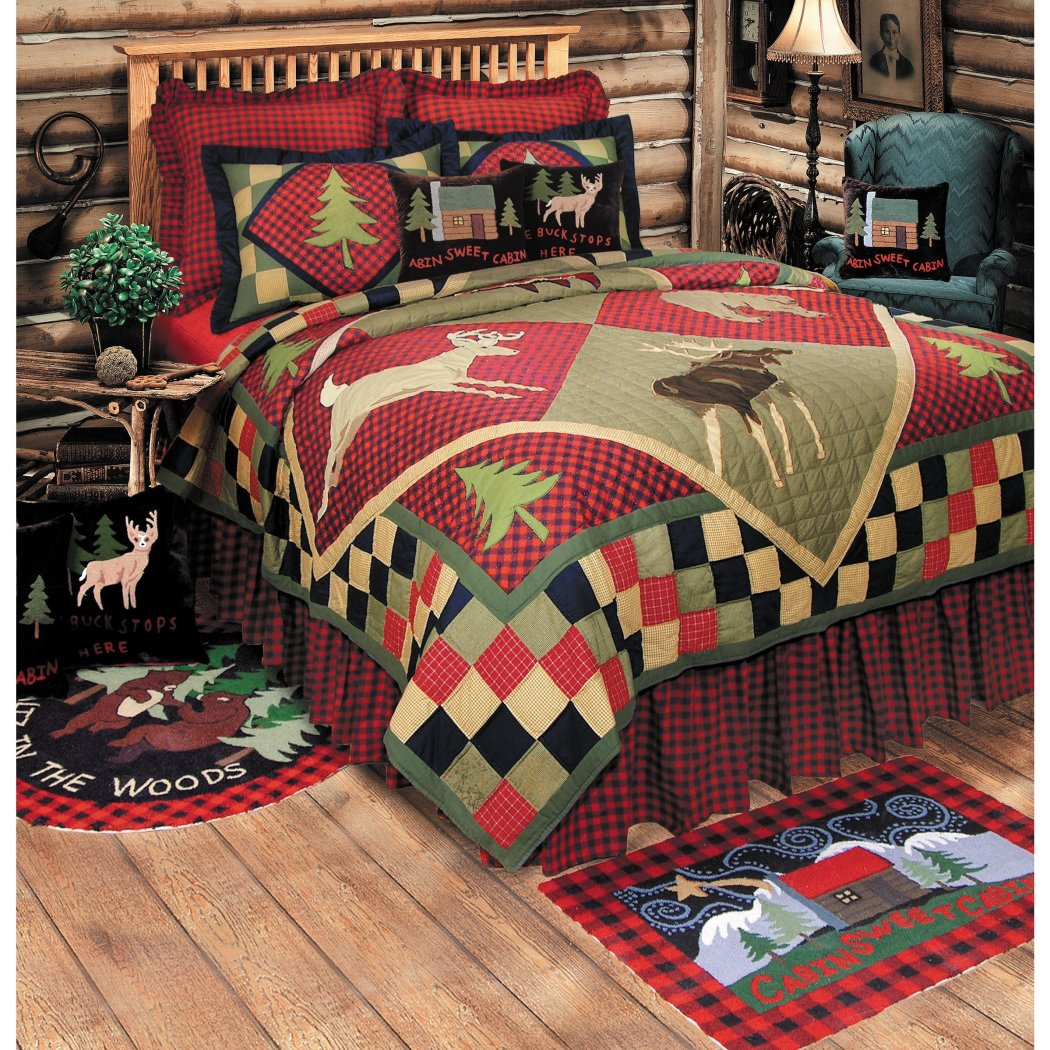 Green Pine Tree Size Cabin Themed Red Plaid Tartan Checkered Check Pattern Outdoors Cottage Trees Nature Lodge Trim Country Rustic Western Black Beige - Diamond Home USA