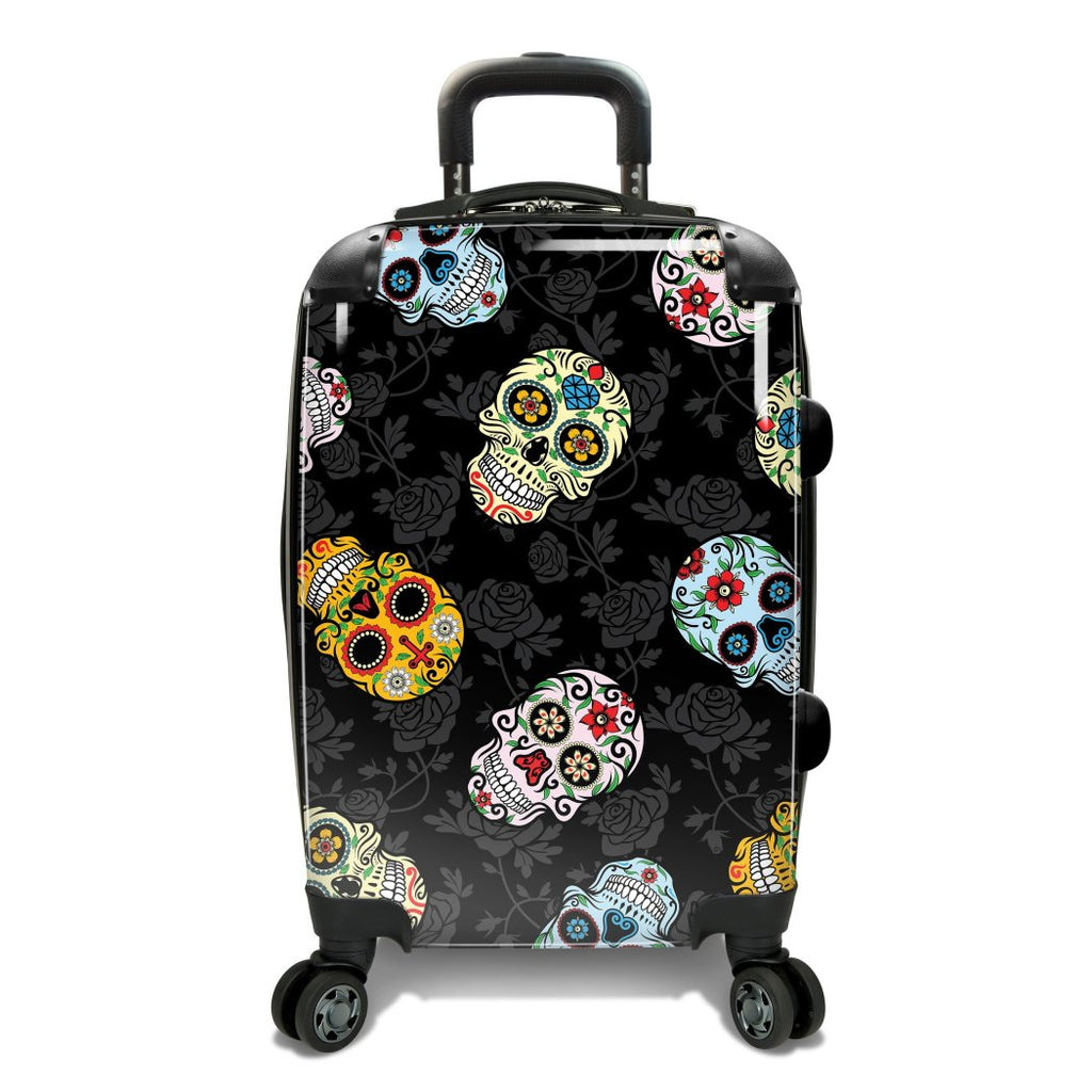 Color Floral Skull Luggage Hardtop Hardside Roller Set Intricate Flower Rose Skulls Themed Hard Side Top Carry Suitcase Rolling Upright Spinner - Diamond Home USA