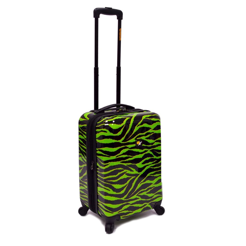 Lime Green Black Zebra Theme Luggage Hardtop Hardside Roller Set Safari Wild Animal Themed Hard Top Side Rolling Carry Suitcase Upright Spinner Wheels - Diamond Home USA