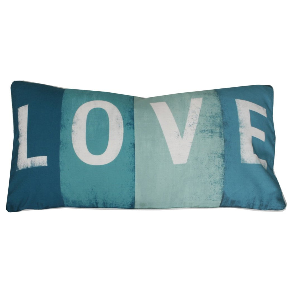 Love Throw Pillow Decorative Rectangle Shaped Letters Sayings Quotes Printed Feather Filled Polyester
