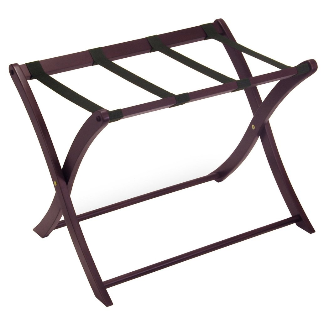 Curved Leg Luggage Rack Brown Espresso Wood Suitcase Holder Walk Closet Entryway Bedrooms Holds Heavy Travel Bags Modern X Shaped Rack - Diamond Home USA