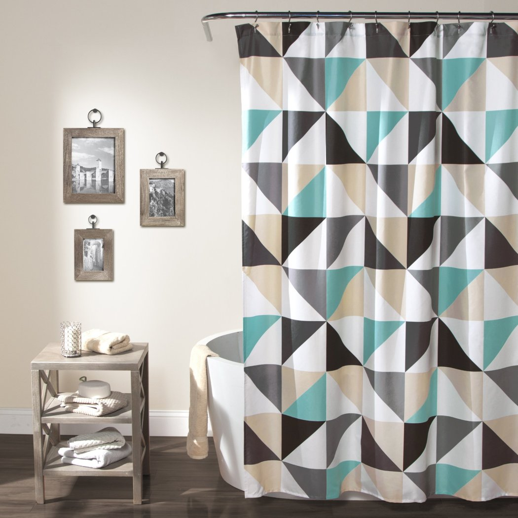 Black Beige Blue White Abstract Pattern Shower Curtain Geometric Themed Modern Elegant Design Colorful Triangle - Diamond Home USA