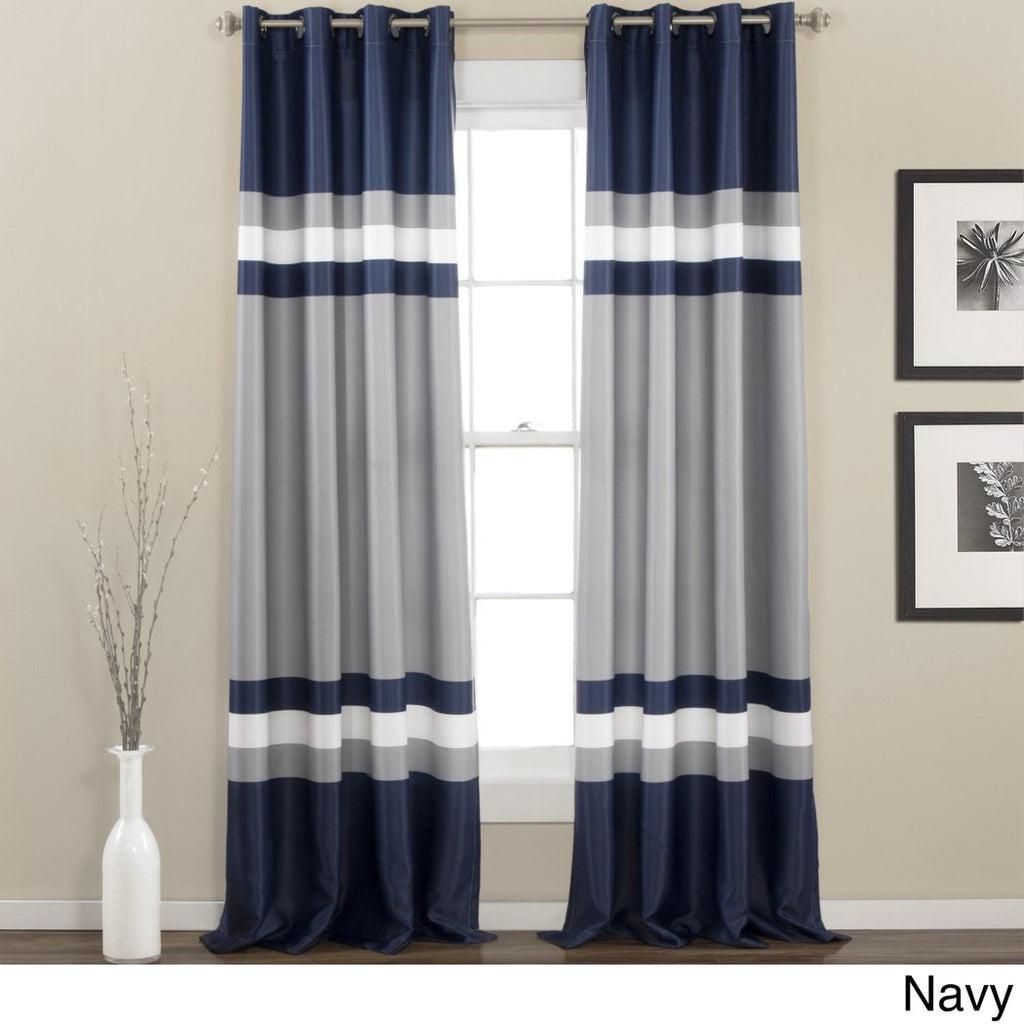 Rugby Stripes Curtains Pair Panel Set Drapes Cabana Striped Pattern Window Treatments Nautical Sports Themed