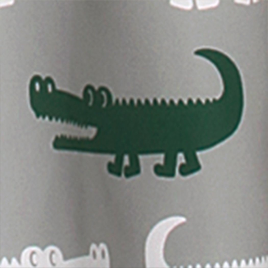 Kids Alligator Silver Grey Dark Green Window Curtain Set 84 Inch Animal Pattern Panels Pair Gray Colour Green Gators Kids Themed Teen Polyester - Diamond Home USA