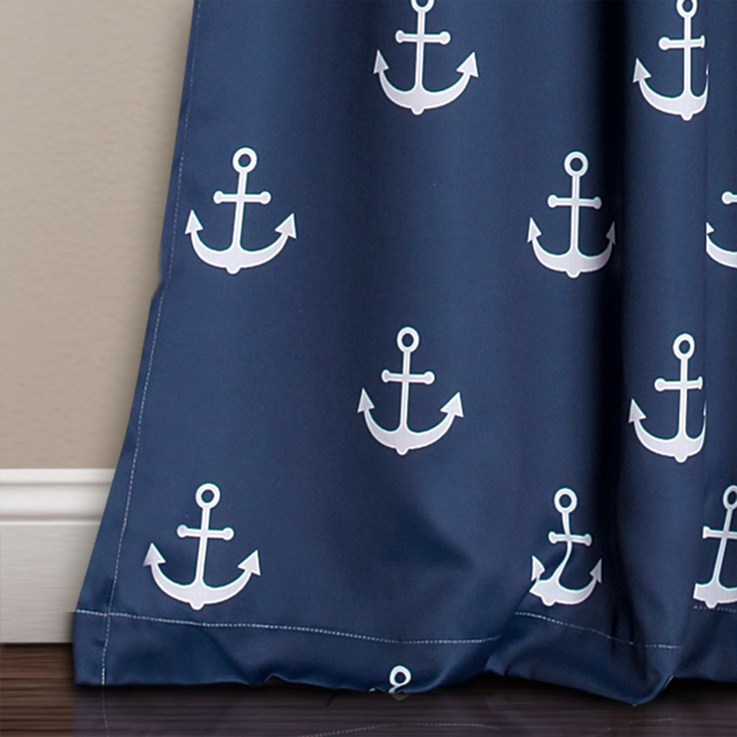 Girls Navy Blue White Anchor Window Curtain Set 84 Inch Nautical Pattern Panels Pair Blue Colour Kids Themed Teen Allover Polyester Pretty Modern - Diamond Home USA