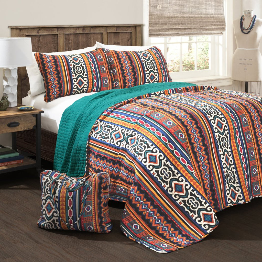 Southwest Quilt Set Southwestern Bedding Vertical Striped Pattern Tribal Native American Themed Lodge Cabin Indian