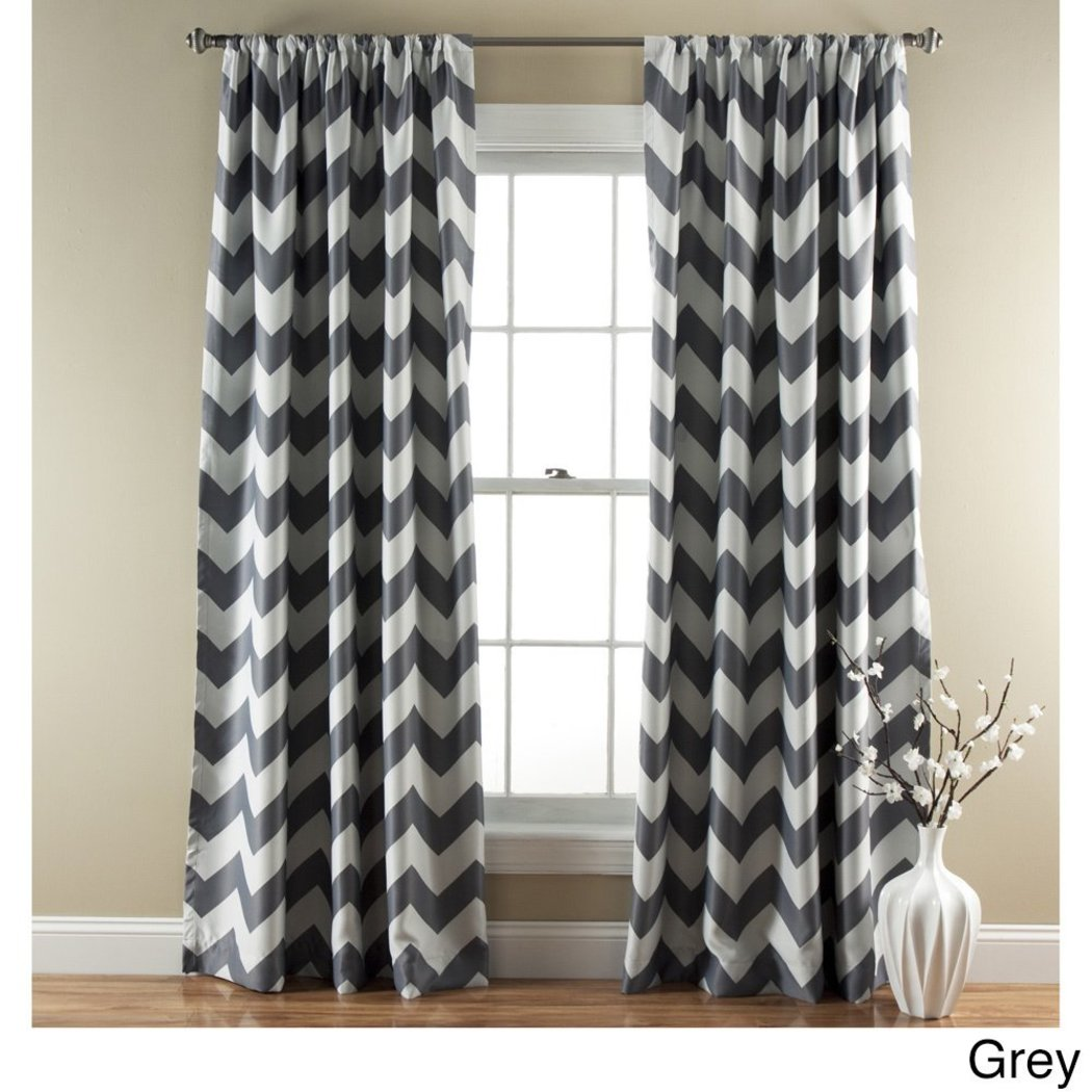 Off Chevron Window Curtain Set Zig Zag Panels Pair V Shaped Pattern Polyester Vibrant Modern Contemporary Casual Zigzag Blackout