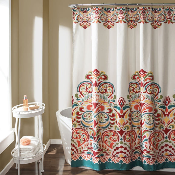 Turquoise Blue Orange Damask Floral Pattern Shower Curtain Elegant Themed Modern Bohemian Themed Pattern Royal Victorian Colorful Polyester Indie - Diamond Home USA