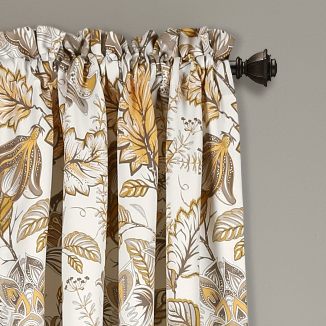 Botanical Window Curtain Set Floral Jacobean Vines Bloom Pattern Garden Inspired Classic Panels Pair Room ening