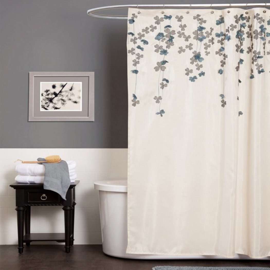 Ivory Blue Graphical Nature Themed Shower Curtain Polyester Detailed Flower Vine Drop Printed Abstract Floral Pattern Classic Elegant Design Rich - Diamond Home USA