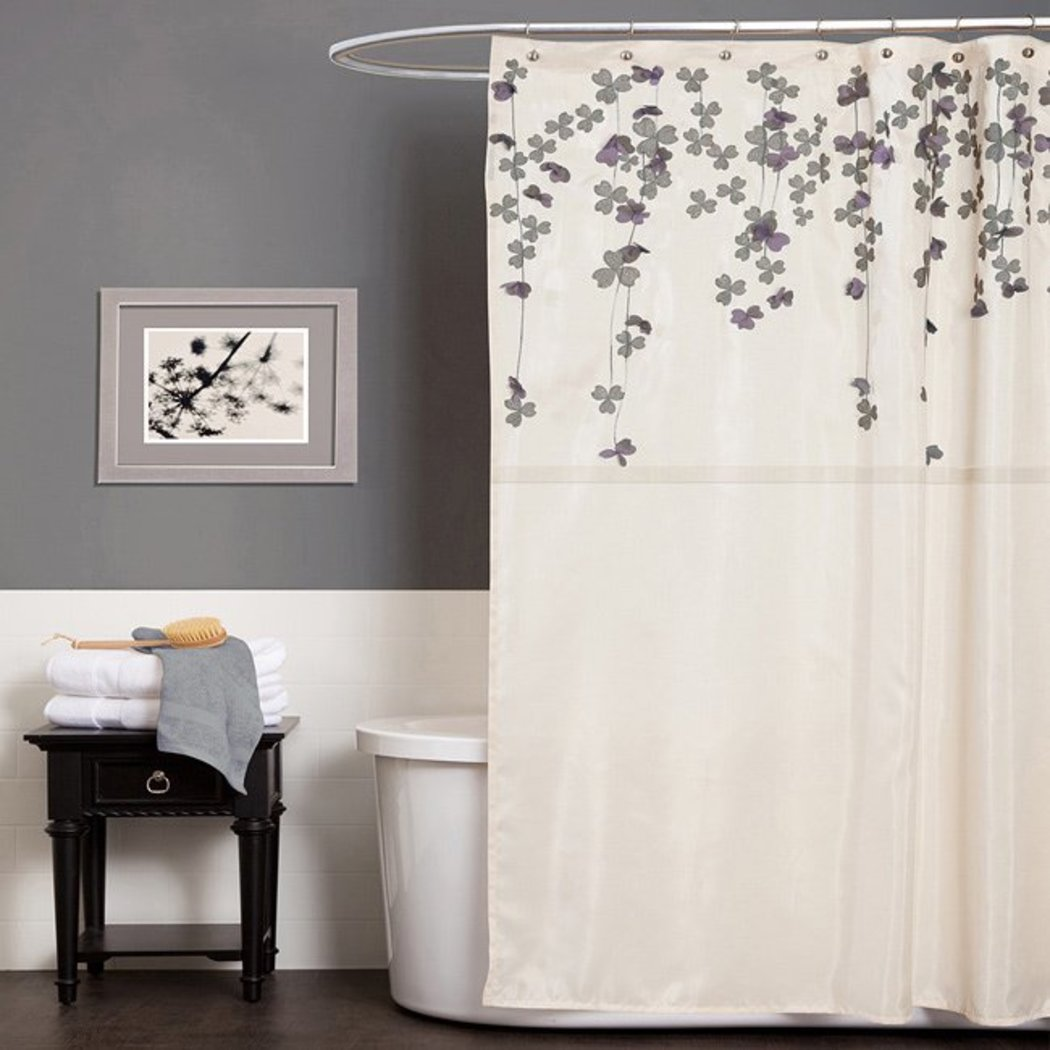 Ivory Purple Graphical Nature Themed Shower Curtain Polyester Detailed Flower Vine Drop Printed Abstract Floral Pattern Classic Elegant Design Rich - Diamond Home USA