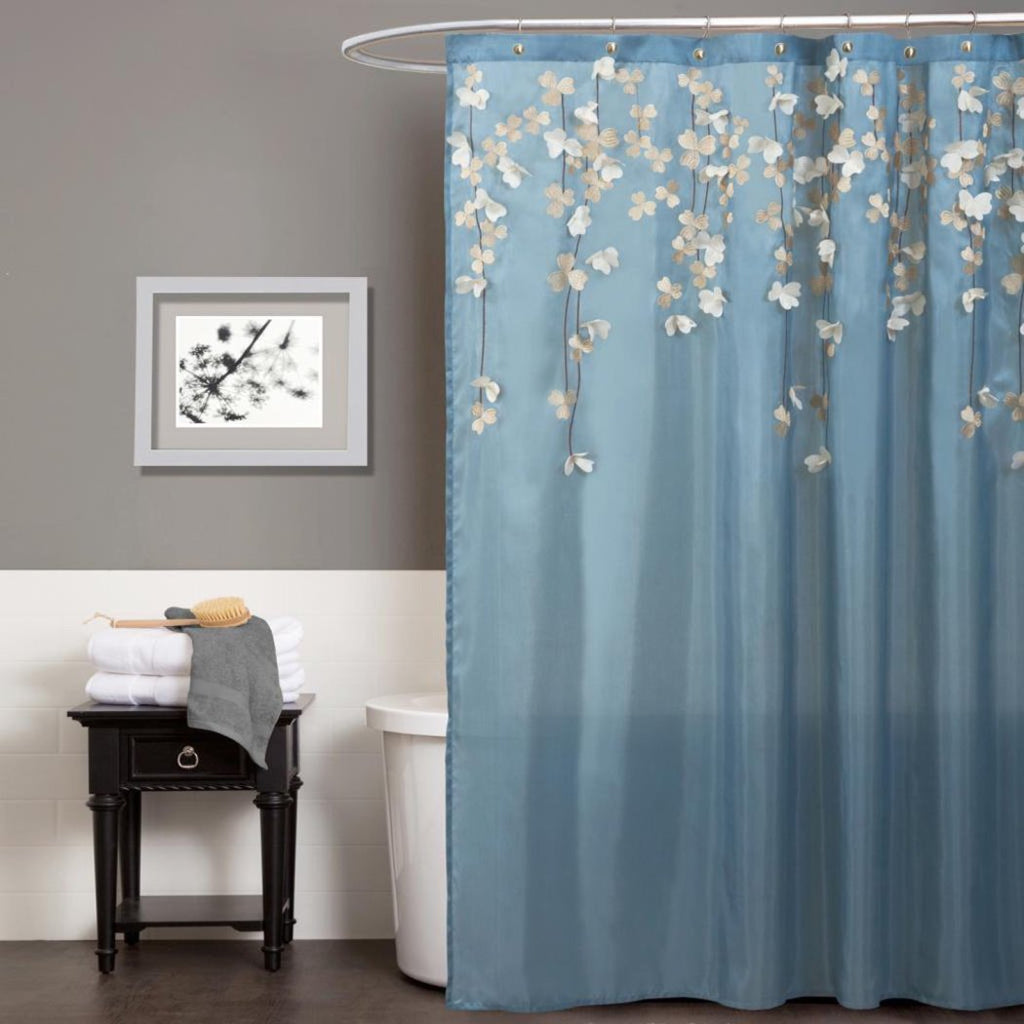 Aqua Blue Brown Graphical Nature Themed Shower Curtain Polyester Detailed Flower Vine Drop Printed Abstract Floral Pattern Classic Elegant Design Rich - Diamond Home USA