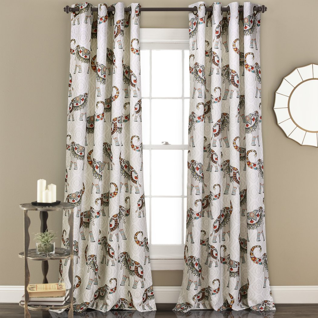 Blue Ivory Elephants Window Curtain Set 84 Inch Red Bohemian Drape Floral Moroccan Animal Novelty Room Darkening Contemporary Window - Diamond Home USA