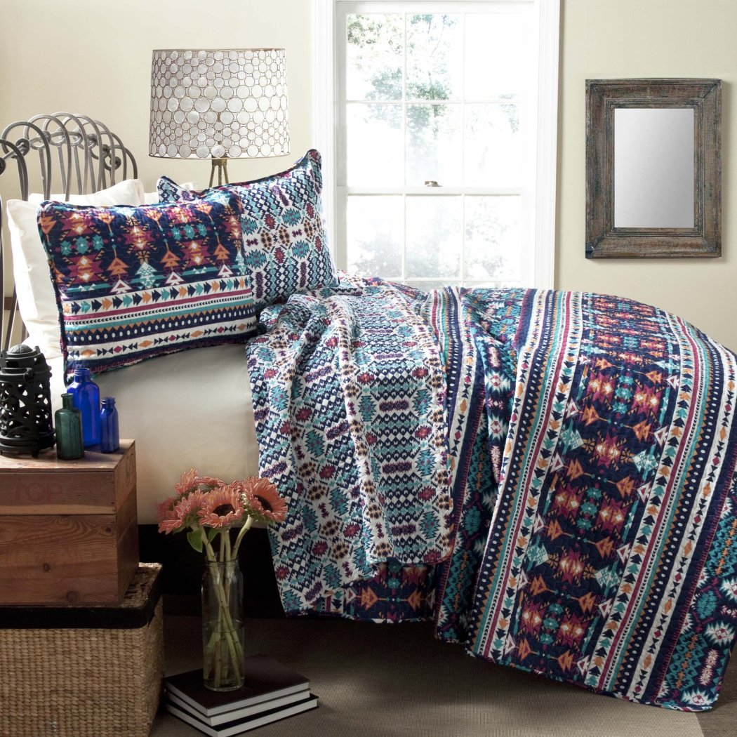 Southwest Quilt Set Southwestern Bedding Pattern Tribal Native Horizontal Stripe Western Lightweight Lodge Log