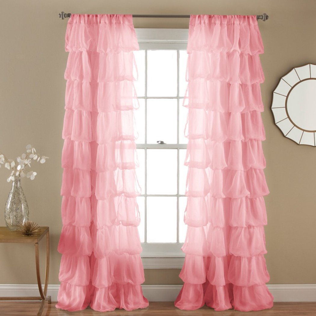 Girls Gypsy Window Curtain Single Panel Bohemian Ruffled Pattern Layered Overlapping Ruffles Gypsies Hippie Themed Hippy