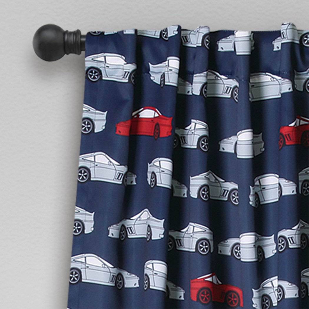 Boys Race Cars Navy Blue Red Window Curtain Set 84 Inch Novelty Pattern Panels Pair Blue Grey Colour Kids Sports Themed Teen Allover Polyester - Diamond Home USA