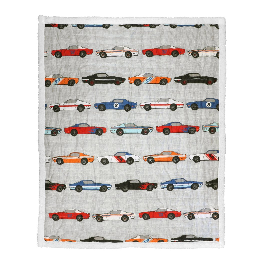Kids Race Car Themed Throw Blanket Vintage Cars Pattern Stripe Design Gorgeous Colorful Adventure Theme Friendly Fun Novelty - Diamond Home USA